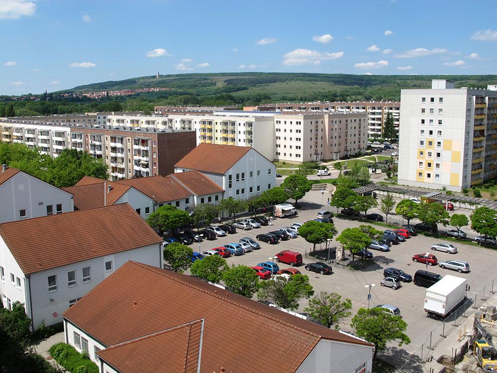 th.inka Stützpunkt Weimar - Weimar West – Blick über den Straßburger Platz zur Kaunaser und Moskauer Str.