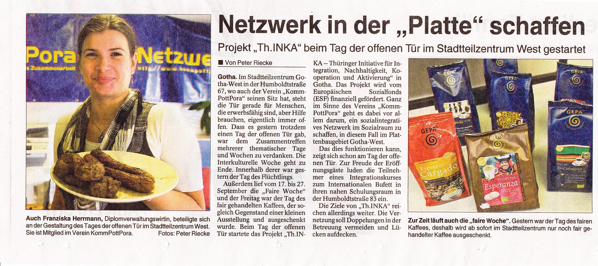 th.inka Stützpunkt Gotha - News: TLZ 20130928